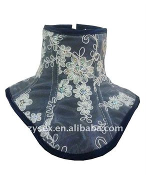 Blue with White Flowers Overlay Neck corset