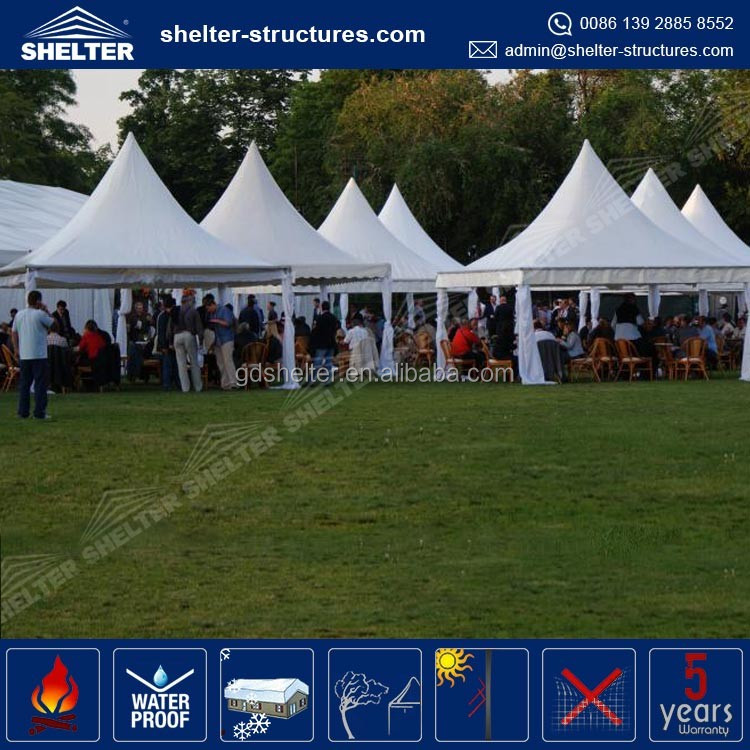 850g/sqm PVC coated fabric roof cover aluminum pvc party pagoda tent 10x10 portable canopy tent used for event