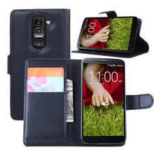 Litchi PU Card Holder Wallet Flip Leather Case For LG G2 Mini
