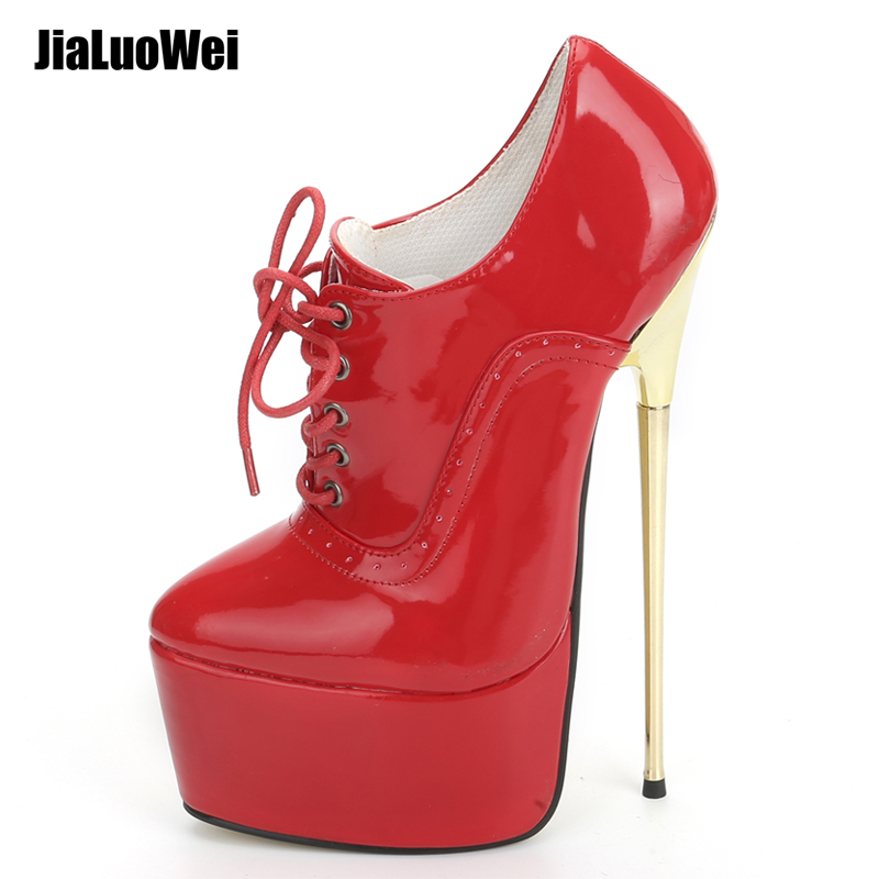 High Quality 22CM Extreme High <strong>Heel</strong> Pumps Pointed Toe Lace-up Platform Metal <strong>Heels</strong> Sexy Red Ladies <strong>Heeled</strong> Ankle Shoes