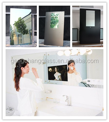 mirror glass for advertising LED Magic Mirror use, magic mirror glass pieces, -sue