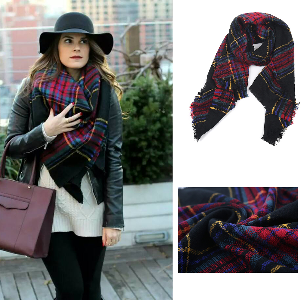 Wholesale fashionable black plaid blanket scarf