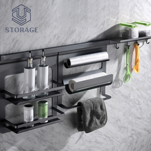 wall mount R&D one set steel / stainless steel spice shelf wall rack storage rack metal kitchen hanging rack