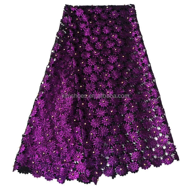 2017 purple african guipure lace fabric with beaded high quality swiss embroidered cord lace for wedding dress fabric