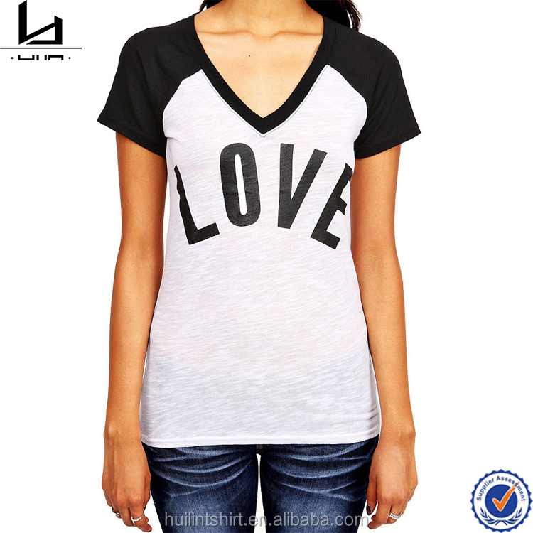 Customized t shirt manufacturer bangladesh custom V-neckline t shirt printing raglan two tone t shirt