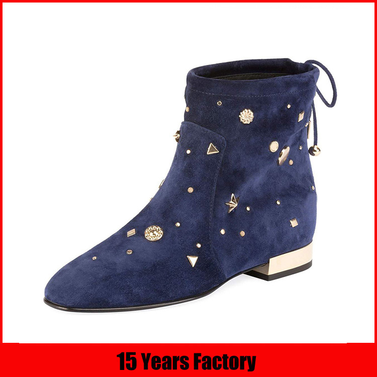 Fashion style buckle decoration lace up low heel women ankle boots