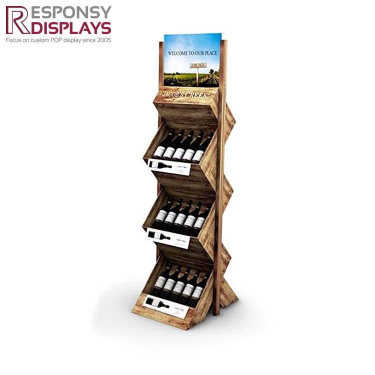 Creative design modern exhibition Z shape two side wood floor wine display shelf