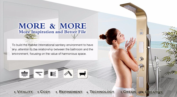 Thermostatic bathroom shower wall panel with back massage #BS-6902