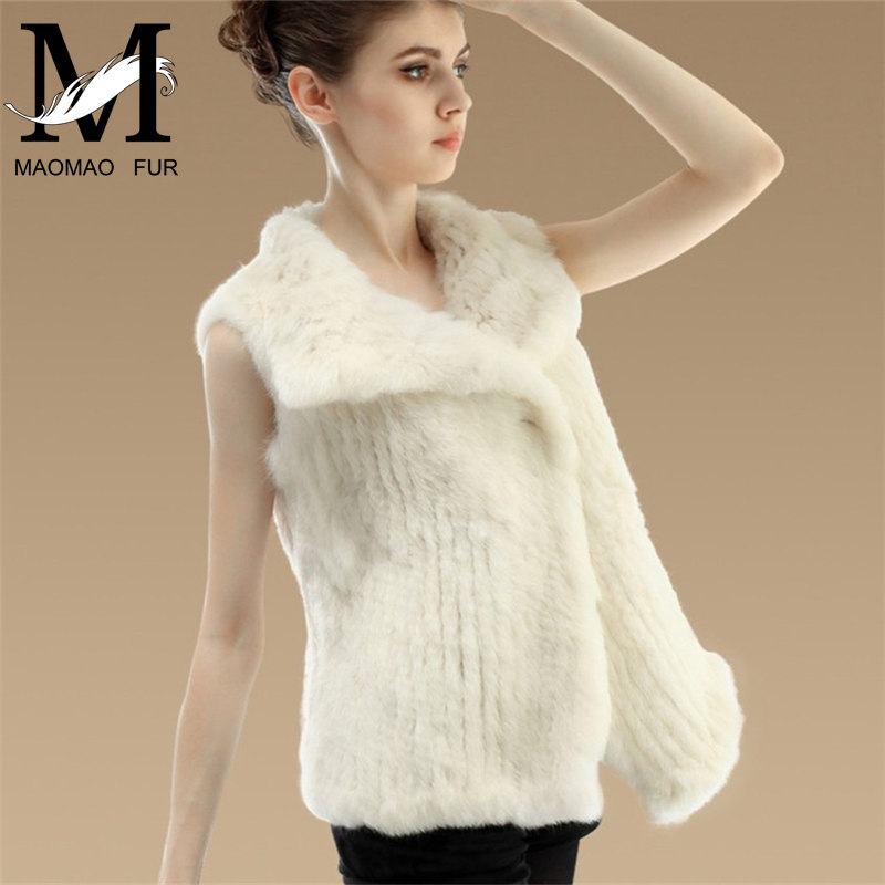 Latest Sleeveless Sexy Ladies Vests Fashion Rabbbit Fur Knitted Vest Pattern