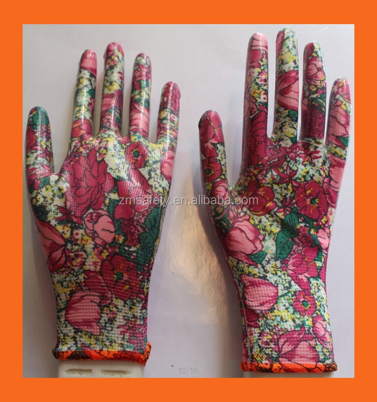 Polyester Shell Women Garden Gloves With PU Coated Palm Dip