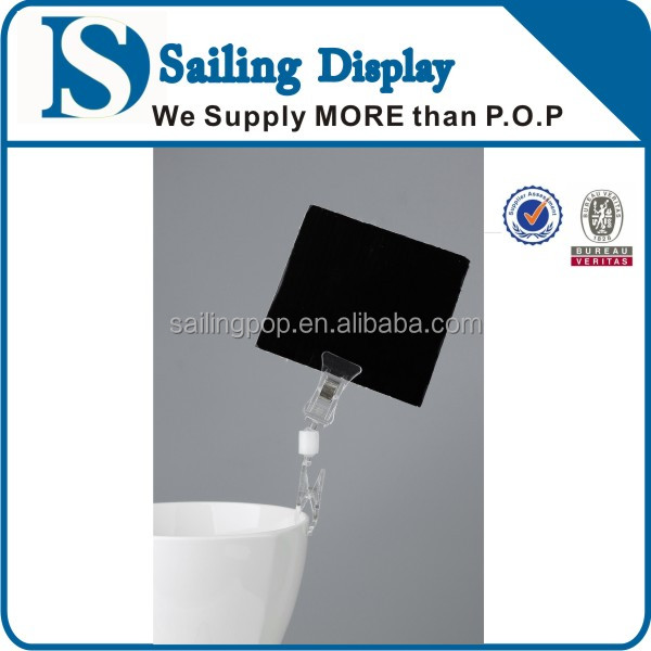 Plastic self-adhesive memo clip for shops