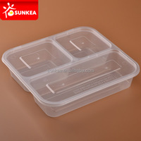 Disposable clear plastic 3 compartment microwave food container