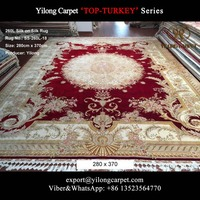 9x12 Large red mint floral turkish silk on silk traditional carpet designs