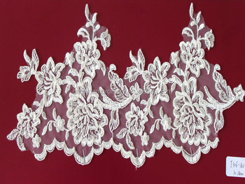 2014 hot selling ivory embroidered wedding bridal lace trim