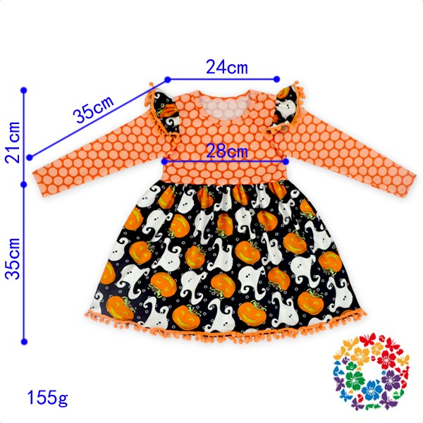 Children Girls Pom Pom Autumn Causal Dress Pumpkin And Ghost Halloween Long Sleeve Dress 2017