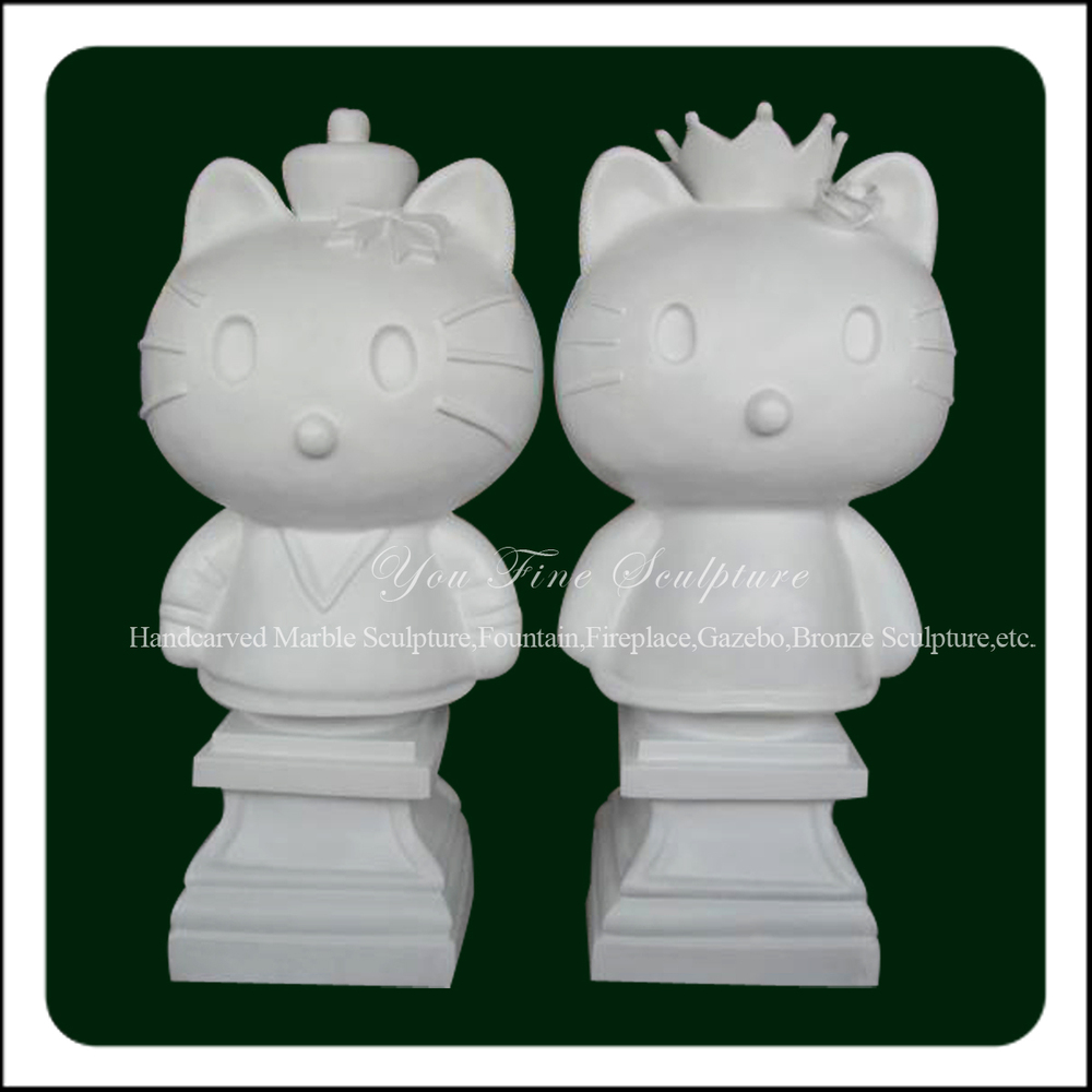 Vivid Carving Cartoon Statue Natural Marble Hello Kitty Sculpture
