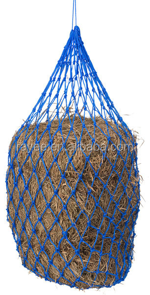 "HDPE 5cm small holes and 46"" size miniature horse hay net,Slow Feeder For Horse, feno do cavalo alimentador net"