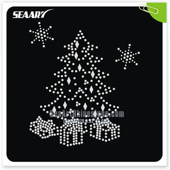Christmas Tree With Green Leaf Shinny Light Shoes Hot Fix Rhinestone Transfer Motifs Design