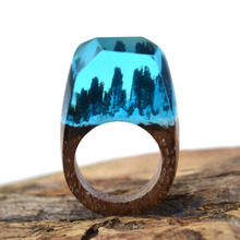 Fantastic Wood Ring Fancy Design Wooden and Resin Secret Transparent Rings Magical Jewelry Bijoux Bague for brithday gift