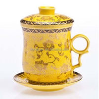 glazed porcelain Gold Plated Tea Set porcelain cup with saucer factories in guangzhou