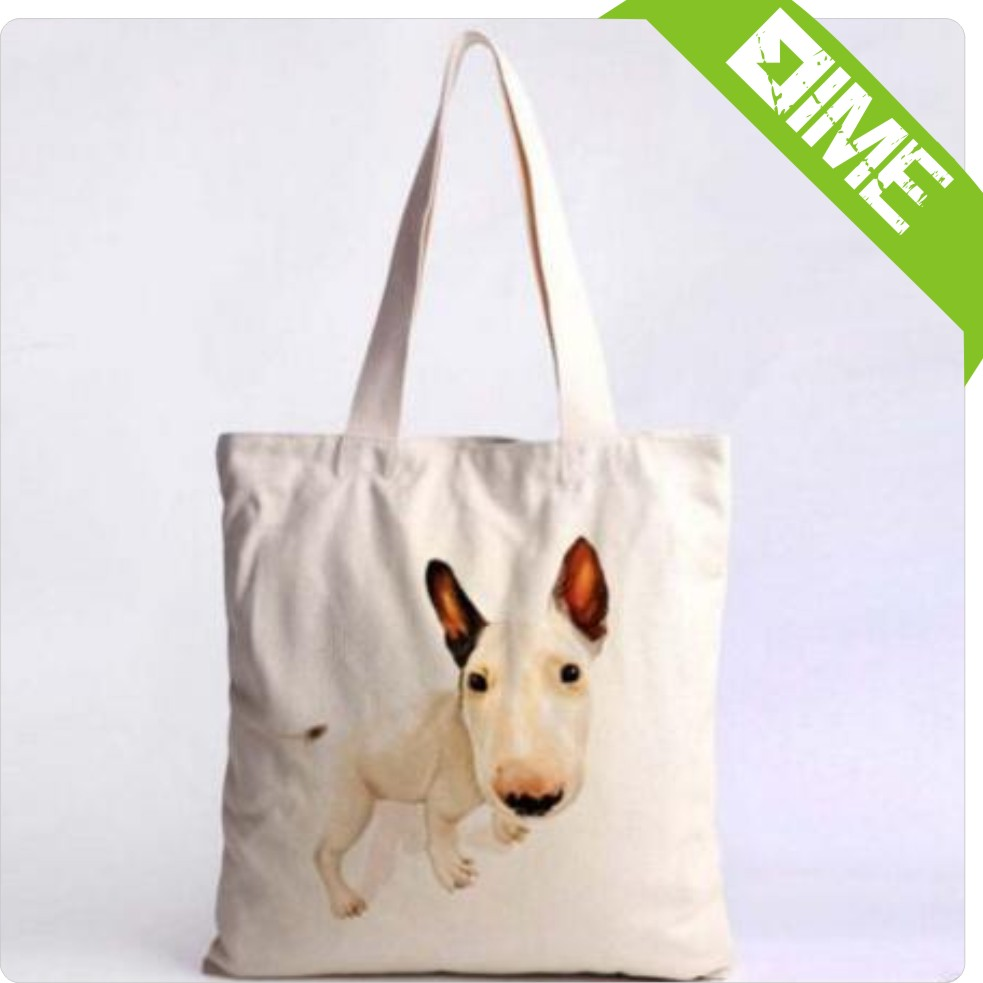 Print Small Dog Cotton Shopping Bag