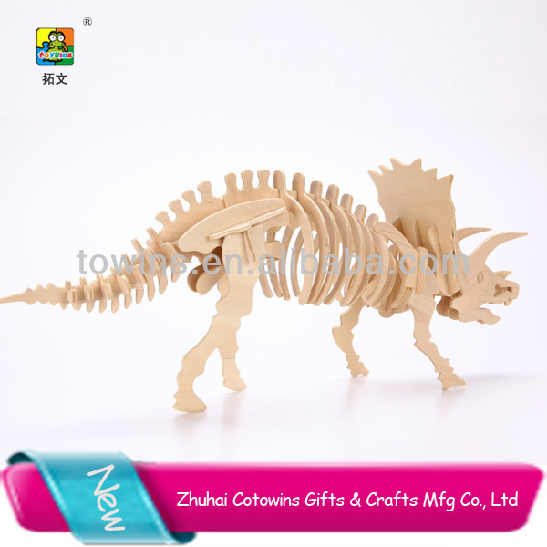 Wooden kids Assembling toys 3D dinosuar Model Puzzle kids toys toy dinosaur