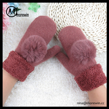 Morewin brand custom fingerless gloves wholesale winter warm comfortable wool/acrylic lady knitted mitten glove with pom pom