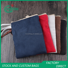 Double Sided Suede And Terry Zipper Top Pouches Coin Carry On Small Bags With Handle
