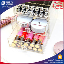 High quality three desktop drawer acrylic display clear acrylic makeup drawer organizer makeup storage box customized made