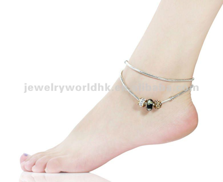 Wholesale black silver charm beads anklet
