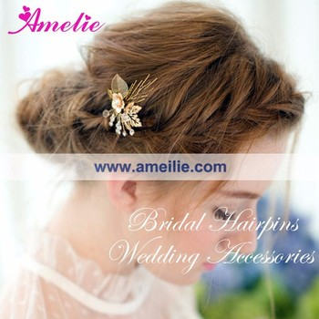 Rose Gold Plated Coroa De Novia Bride Crown and Hairpins