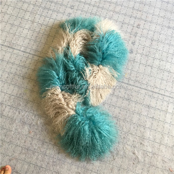 High quality Real Long hair Mongolian lamb fur scarf dyed colors