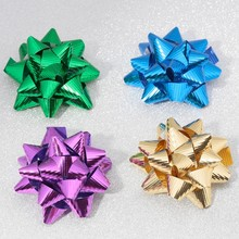 Wholesale metallict mini christmas gift packing star bow