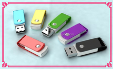 OEM customer's logo print available promotional gift colorful metal swivel USB pen drive