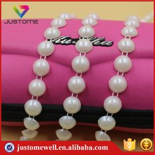 Half Round White Plastic Chain Roll Pearls Trimming Banding DIY Decorative Cup Chain