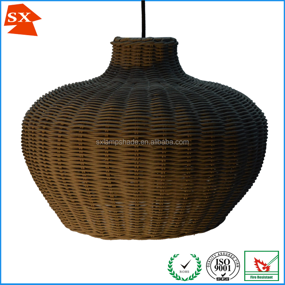 Oriental style tea party grey woven wicker dinning room pendant lampshade