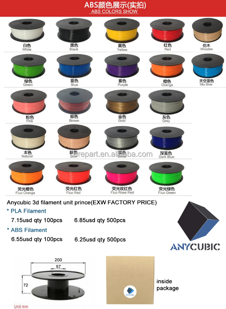 Colorful China ABS or PLA 3D pen filament