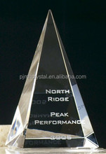 engraved 3d laser glass crystal pyramid MH-JT0021