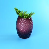 Round cylinder glass vase in purple color with grid design