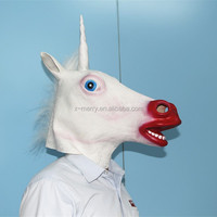 Sexy Red Mouth Unicorn Horned Horse Head Mask Creepy Halloween Costume Prop Latex Theater Gag