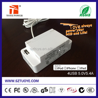 China supplier, fast 5V 4.2A 4 port cell phone desktop usb wall charger /usb wall power adapter with safety switch