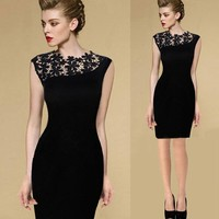 Fashion Elegant Cocktail Dress Bodycon Black Latest Casual Dress Design Short One Piece High End Lace Dress For Women Apparel