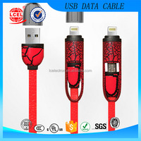 New flat crack pattern design fast charging sync data 2 in 1 retractable powered usb cable for mobile phone