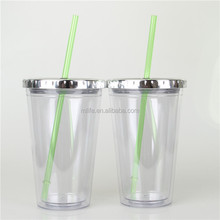 Mlife wholesale high quality AS clear double wall 16oz hard plastic cup with metal mirror lid, custom logo print
