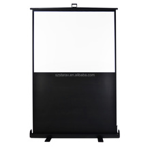 100 inch matte white 16:9 portable outdoor floor Pull up projection screen for meeting/ training/travel/home cinema
