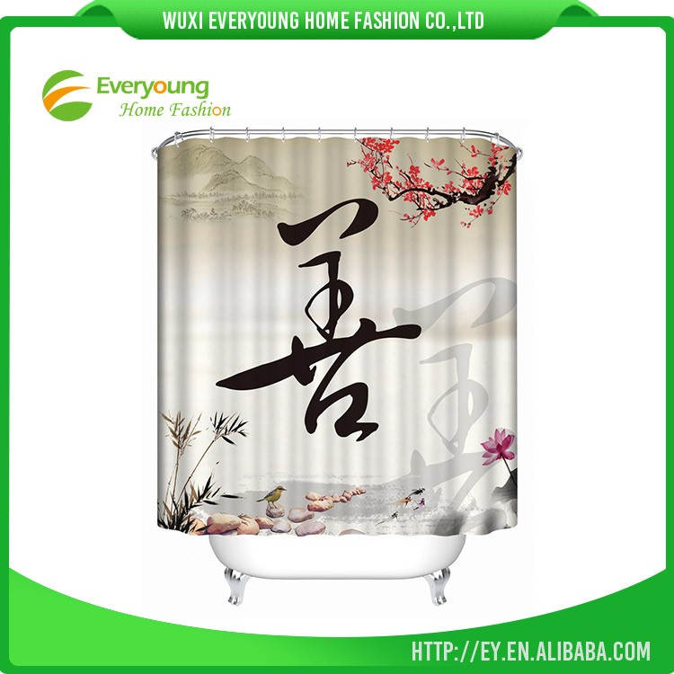 Factory Custom Printed Washable Fabric, Shower Curtain For Home Decoration