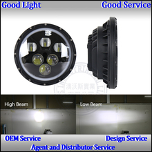 "Led vehicle lights 7"" round 60W led auto headlight for j eep with white/blue hola ring"