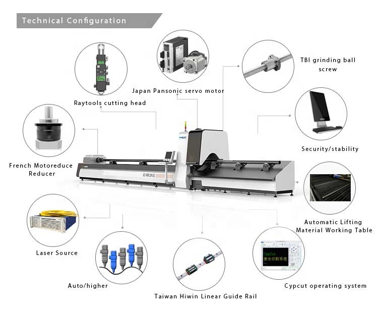 Fiber metal tube cutting laser machine for circular tube LF60M