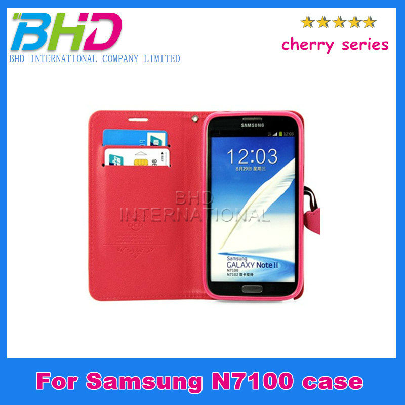 Hot selling Cherry Series Wallet PU leather case with card holder case for Samsung GALAXY Note 2 N7100