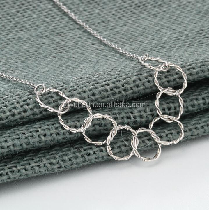 QM155 Huilin Open Circle Necklace in 925 Sterling Silver Statement Necklaces